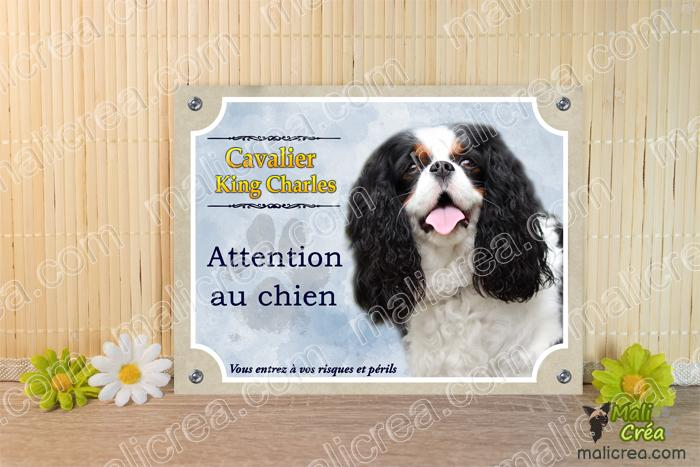 Plaque attention chien cavalier king charle noir