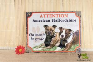 Plaque chien personnalisee photo american staff