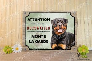 Plaque chien rottweiler monte la garde attention