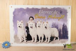 Plaque personnalisee affiche elevage canin berger blanc suisse dame midnight